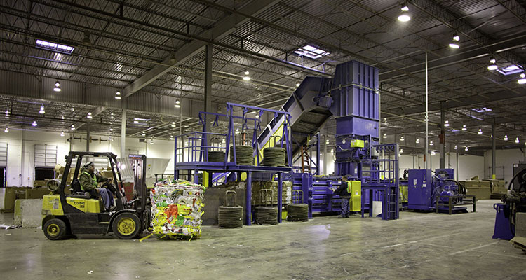 Inside view of recycling plant.