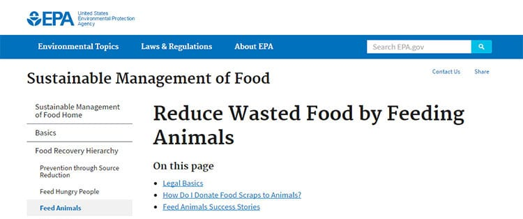 Screen shot of text found on the EPA website's section about sustainable management of food as animal feed.