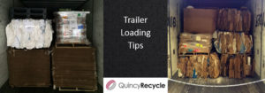 Semi trailer loading tips sign between two well-organized trailers full of recycled material.