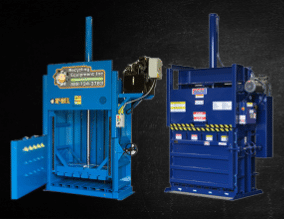 Large blue machinery used for processing recycled materials.