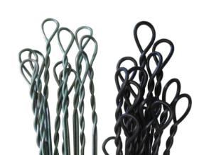 Silver and black single loop bale ties