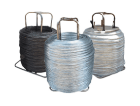 Three large spools of stump wire.