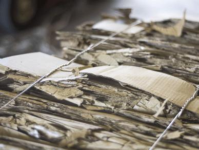 Close-up view of baled cardboard scrap.
