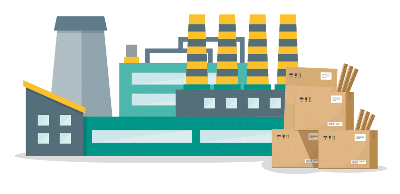 Graphic visualization of large teal and yellow food manufacturing plant and its leftover cardboard material ready for recycling.
