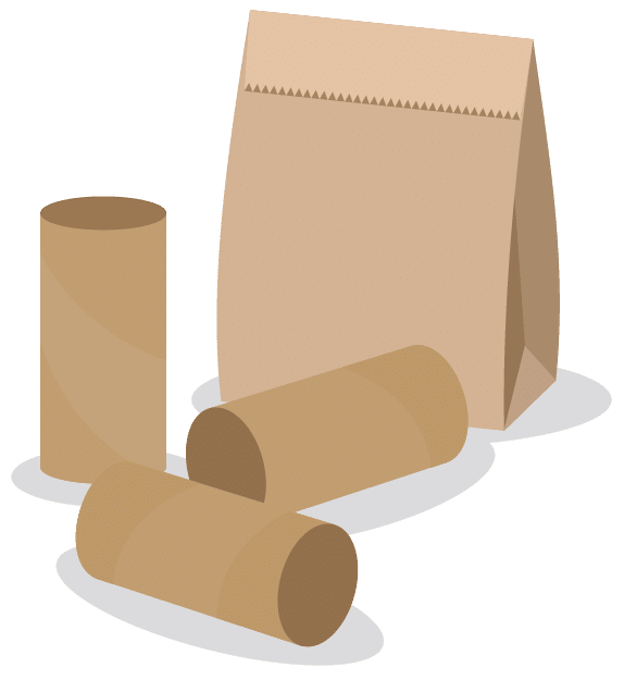 Graphic visualization of brown paper bag and cardboard paper rolls.