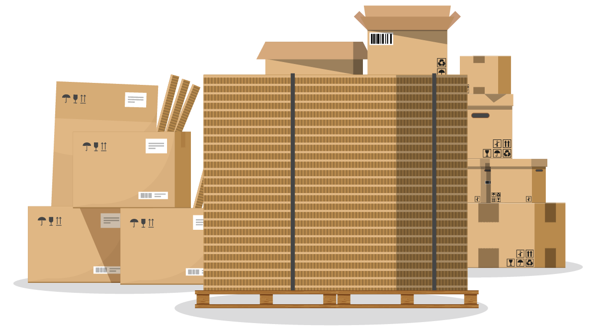Graphic visualization of large stacks of brown cardboard boxes and scrap material.