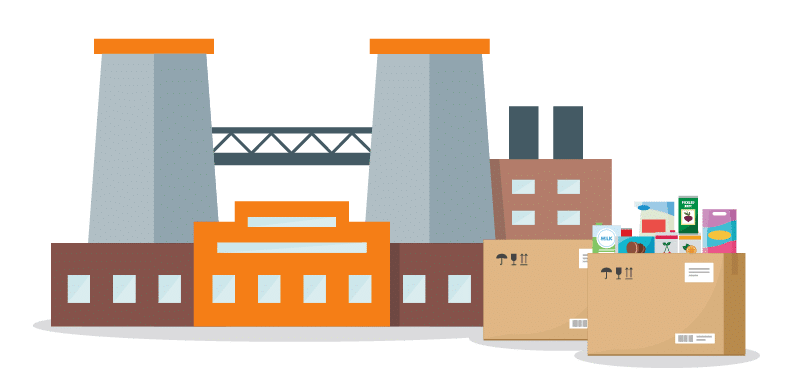 Graphic visualization of a brown and orange box manufacturing plant and its recently produced food product boxes.