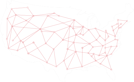 Map of the US with several red plots and lines connecting them across the country.