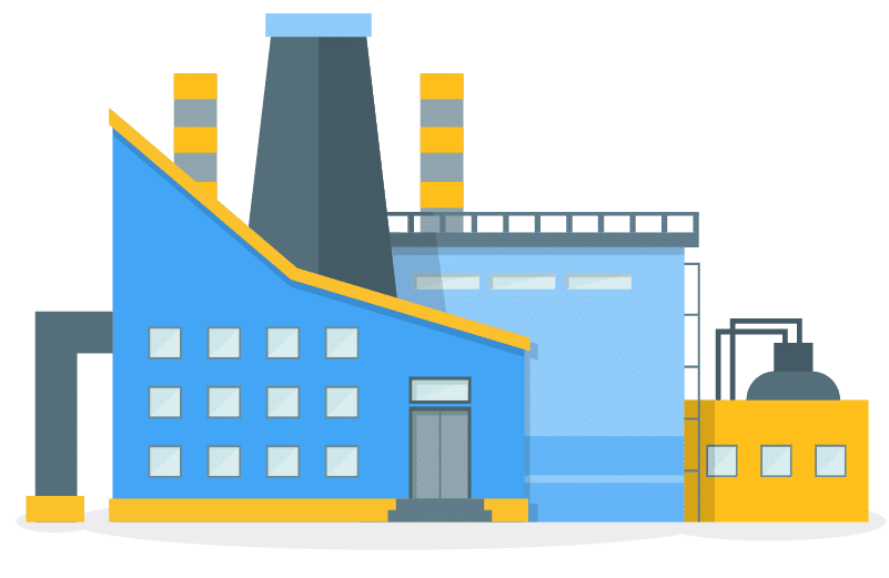 Graphic visualization of a large blue and yellow manufacturing plant.