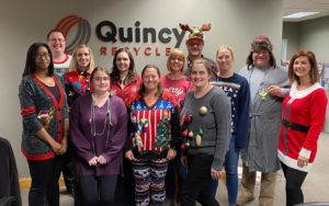 Quincy Recycle employees celebrate with festive attire