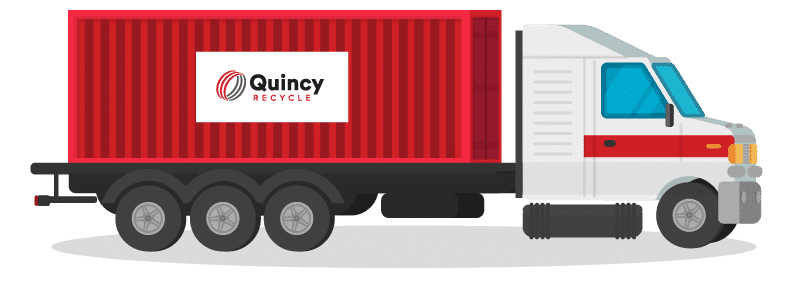 Red and grey truck and trailer with Quincy Recycle logo.