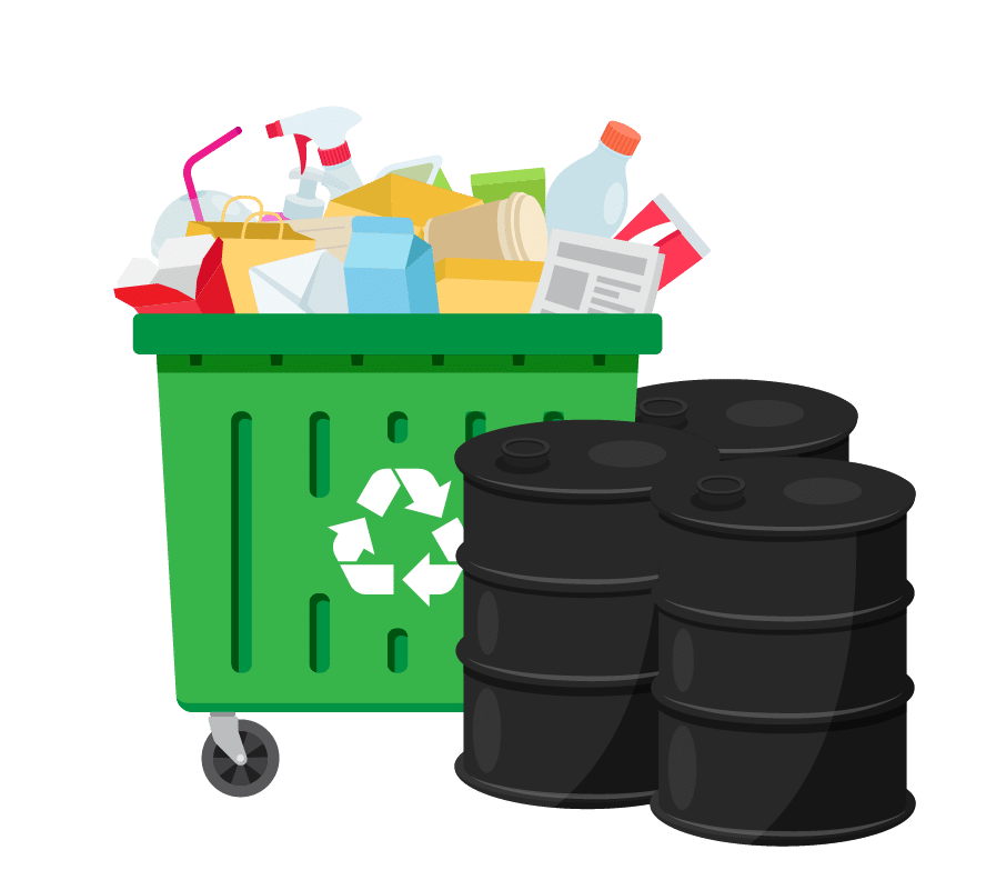 Graphic visualization of a mixed-commodity metal recycling load in a green dumpster and black metal barrels ready for pickup.