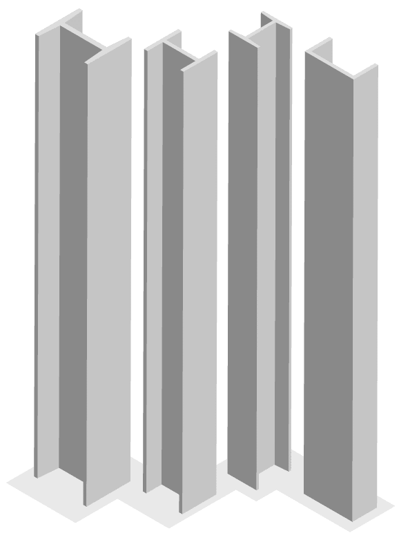 Graphic visualization of four vertical, grey steel beams.