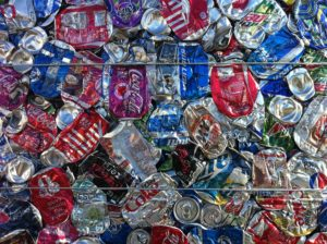 Bale of aluminum cans secured by galvanized baling wire